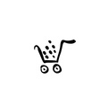 black shopping cart icon trolley isolated on vector image