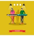 Boy and girl playing electric piano vector image vector image
