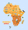 bright map with famous african destinations vector image