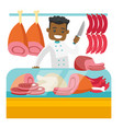 butcher offering fresh meat in the butchery vector image vector image