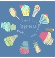 Card with ice-creams ice-lolly and cupcake vector image