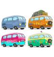 cartoon colorful retro van bus with peace sign vector image