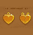 cartoon golden heart love vector image