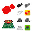 casino and equipment cartoonblackflatmonochrome vector image vector image
