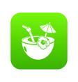 coconut cocktail icon green vector image vector image