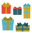 collection of five multi colored gift boxes vector image vector image
