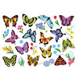 colored butterflies hand drawn simple collection vector image vector image