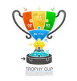 cup winner with icons puzzle vector image vector image