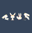 cute white rabbit collection sitting jumping vector image