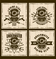 diving set four brown vintage emblems vector image vector image
