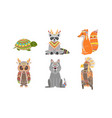 ethnic patterned animals set fox owl wolf vector image