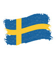 flag of sweden grunge abstract brush stroke vector image vector image