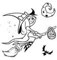 funny halloweenwitch flying vector image