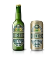 Green beer bottle and golden can with labels vector image vector image