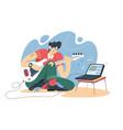 guy training on guitar online vector image