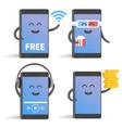 happy cartoon smart phone character set great for vector image vector image