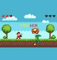 hero battle in pixel video game vector image vector image