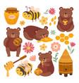 honey and bear cartoon bears plush grizzly vector image vector image