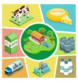 isometric farming elements composition vector image vector image
