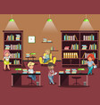 library interior with people vector image