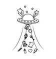 line ufo talking away baby toys vector image vector image