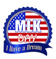 martin luther king day label sticker or stamp vector image vector image