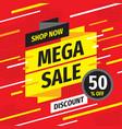 mega sale concept promotion banner discount 50 p vector image
