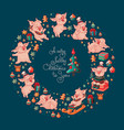 merry christmas to you cute pigs vector image vector image