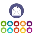 Open envelope with heart set icons vector image