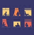 people in windows house look out room or vector image vector image