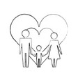 pictogram family in love hearts together vector image