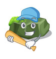 playing baseball cartoon green rock sample of high vector image vector image