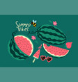 postcard with watermelons on a green background vector image