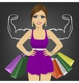 Powerful girl with shopping bags vector image