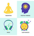 relaxation and mental health concept icon set in vector image