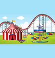 scene with many rides and circus tent in fiel vector image vector image