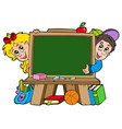 school chalkboard with two kids vector image