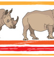 seamless background with rhinoceroses vector image vector image