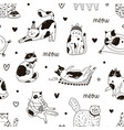 seamless pattern with cute funny cats playing vector image