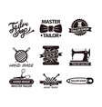 set logos for handmade shops tailor salon vector image vector image