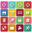 Set of Flat Square Buttons with Office Theme Icons vector image vector image
