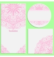 Set of invitation cards with beautiful pink lace vector image