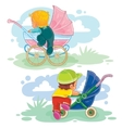 set of little kids and baby carriage vector image