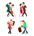 set of modern dancing young couples vector image
