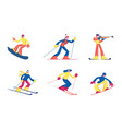 set winter kinds sport activities isolated vector image vector image