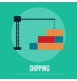Shipping banner with freight crane vector image vector image