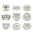 signs with racket and ball for tennis sport club vector image vector image
