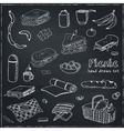 Summer picnic doodle set Various meals drinks vector image