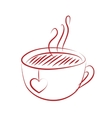 tea cup with red heart vector image