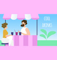 thirsty man buying cool drinks in city park booth vector image vector image